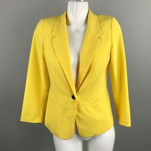 Kensie Yellow Rebekah Polka Dot Lined Blazer